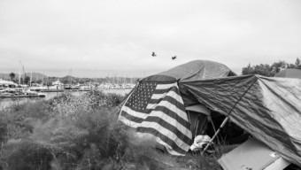 Homelessness American Flag Tent